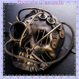 🆕🖤Skull Steampunk Goggle Gears & Spikes Mask🖤